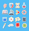 flat style science icons stickers vector image vector image