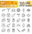food and drink line icon set meal symbols vector image vector image