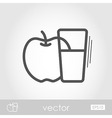 Glass fresh apple juice outline icon Thanksgiving vector image