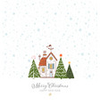 greeting christmas card with small snow covered vector image vector image