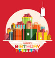 happy birthday card with paper gift boxes pile vector image vector image
