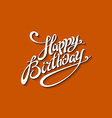 happy birthday lettering template red background vector image