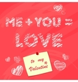 Happy valentines day desk with sticker Chalk vector image