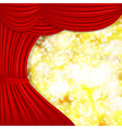 Holiday background with red satin and blurred vector image vector image