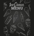ice cream menu cover - blackboard ice cream poster vector image vector image