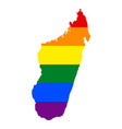 lgbt flag map of madagascar rainbow map of vector image
