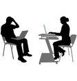 Man and woman with laptops