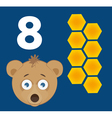 Number 8 - Bear with eight cells of a honey comb vector image vector image