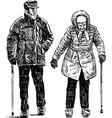 old couple on a stroll vector image vector image