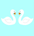 pair white swans on the water flat vector image vector image