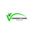 people letter v with leaf logo design template vector image vector image