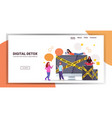 people near gadgets with keep away yellow tape vector image