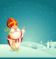 saint nicholas theme winter snowy night landscape vector image vector image