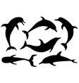 set dolphin silhouettes vector image