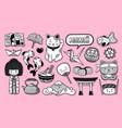 set kawaii cartoon japanese stickers kokeshi vector image vector image