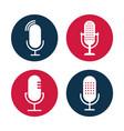 set of radio icon studio table microphone vector image