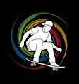 skateboarder jumping man playing skateboard vector image vector image
