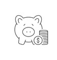 stack coins and piggy bank linear icon on white vector image vector image
