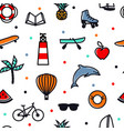 summer icons color seamless pattern black line vector image