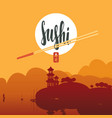sushi banner with chopsticks and east landscape vector image vector image