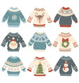 ugly christmas sweaters cartoon cute wool jumper vector image vector image