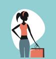 woman retro shopping vector image vector image