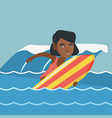 young african-american surfer on a surfboard vector image vector image