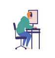 young man sitting at computer isolated on white vector image vector image