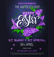 happy easter party poster with lettering vector image
