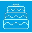 Birthday cake thin line icon vector image