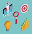 isometric business icons vector image
