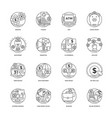 100 banking and finance icon pack vector image