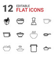 12 soup icons vector image vector image
