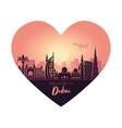 abstract heart-shaped dubai city landscape