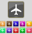 airplane icon sign Set with eleven colored buttons vector image vector image