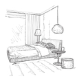 Bedroom modern interior drawing sketch vector image vector image
