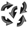 black turning arrows 3d shiny icons set vector image vector image