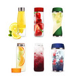 bottles with detox fruit beverages set vector image vector image