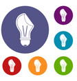 bulb sticker icons set vector image vector image