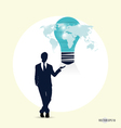 Businessman with light bulb on his hand concept vector image