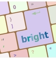 Button with bright on computer keyboard business vector image