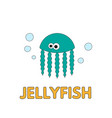 cartoon jellyfish flashcard for children vector image