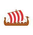 cartoon norwegian ship travel and tourism symbol vector image