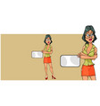 cartoon woman stands with her arms crossed on her vector image vector image