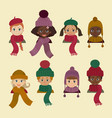 children in different headdress winter autumn hat vector image