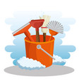 cleaning supplies with bucket and brush vector image