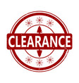 clearance rubber stamp for winter holiday vector image vector image