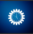 clock gear icon isolated on blue background vector image vector image