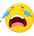 crying emoticon smiley face character with tears vector image vector image