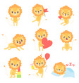 cute lion in different situations set adorable vector image vector image